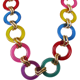 Bright Plastic Large Circles Gold Tone Chain Belt Necklace Vintage