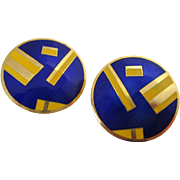 Royal Blue Yellow Enamel Round Geometric Style Signed Earrings Vintage
