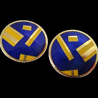 Royal Blue Yellow Enamel Round Geometric Style Signed Earrings Vintage