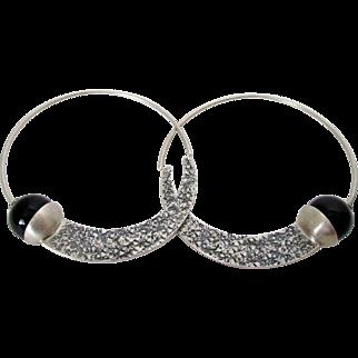 Hammered Sterling Silver Onyx Hoop Earrings India Vintage