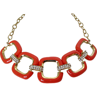Coral Enamel Squares Clear Rhinestones Gold Tone Link Necklace Vintage