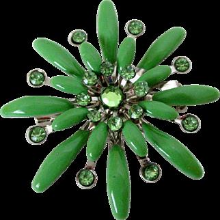 Green Enamel Rhinestones Flower Pendant Brooch Vintage