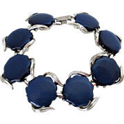 Coro Marked Dark Blue Round Thermoset Silver Tone Bracelet Vintage