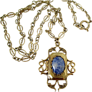 Ornate Locket with Denim Lapis Center Gold Tone Necklace Vintage