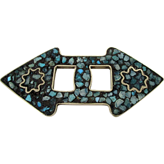 Crushed Turquoise Double Arrow Made in India Brooch Vintage