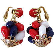 Patriotic Plastic Drop with Clip Back Earrings Vintage