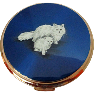 Rare Stratton Persian Cat Compact Vintage
