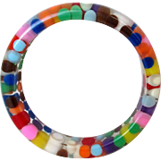 Aspirin Dot Lucite Bangle Multi Colored Vintage