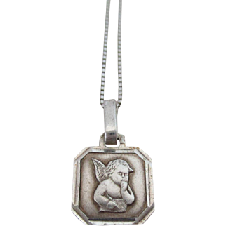 Italy Marked Guardian Angel Charm Pendant Sterling Silver Vintage