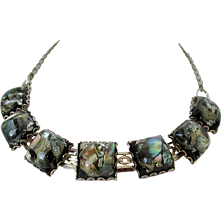 Abalone Shell Chips Encased in Lucite Squares Silver Tone Necklace Vintage