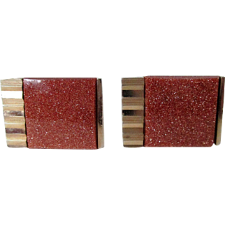 Swank Goldstone Glass Gold Tone Ribbed Edge Cuff Links Vintage