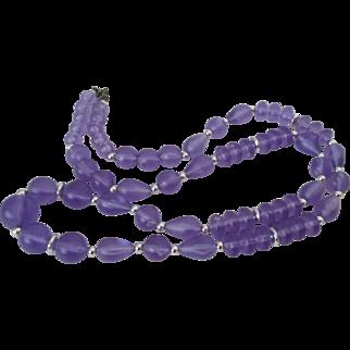 Lovely Lavender Plastic Beaded Single Strand Necklace Vintage
