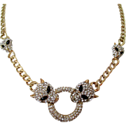 Rhinestone Panther Necklace on Gold Tone Chain Vintage