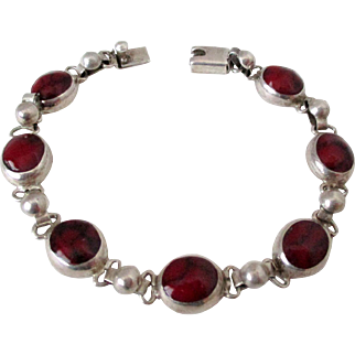 Sterling Silver Red Jasper Stones Mexico Bracelet Vintage