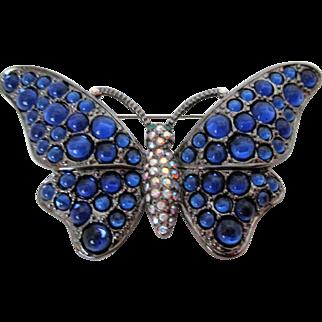 Beautiful Butterfly Royal Blue AB Rhinestones Large Brooch Vintage
