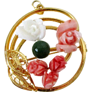 Carved Coral Roses Gold Tone Pin Pendant Vintage