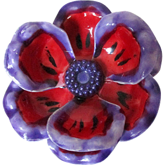 Purple and Red Poppy Flower Pin W Germany Vintage