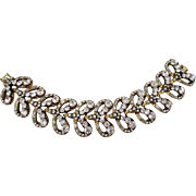 Clear Rhinestones Curved Bows Gold Tone Heavy Bracelet Vintage
