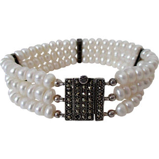 Three Strand Faux Pearls Marcasite Sterling Silver Closure Bracelet Vintage