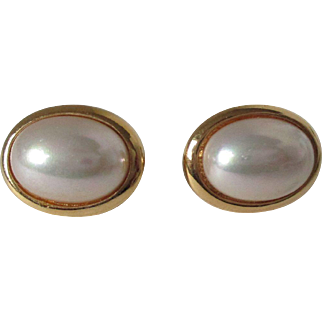 Christian Dior Faux Pearl Gold Tone Clip Back Earrings Vintage