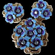 "Avon ""Love Blossoms"" Brooch or Pendant Earring Set Vintage"