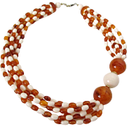 Six Strand Cream and Honey Amber Colored Plastic Beaded Necklace Vintage