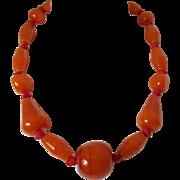 Burnt Orange Glass Beads Heavy Necklace Vintage