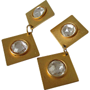 Martha Sturdy Vancouver Two Tiered Gold Tone Earrings Vintage