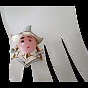 Pilgrim Girl Jelly Belly Head Brooch Vintage