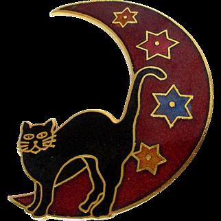 Halloween Black Cat on the Moon Cloisonne Style Brooch Vintage