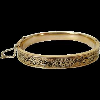 Gold Filled Textured Hinge Style Bangle Vintage
