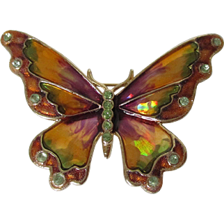 Monet Luminescent Enamel Butterfly Brooch Vintage