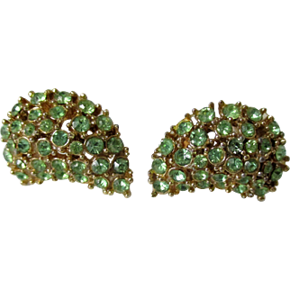 Peridot Green Rhinestone Crescent Shaped Earrings Clip Back Vintage