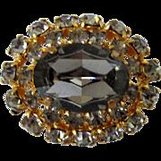 Smokey Grey Glass Stone and Rhinestones Domed Brooch Vintage
