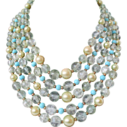 Marcel Boucher Five Strand Faux Pearl Faux Crystal Faux Turquoise Necklace Vintage