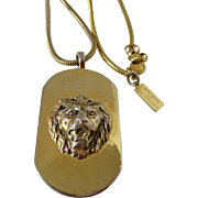 Anne Klein for Accessocraft Lion Head Pendant and Chain Vintage
