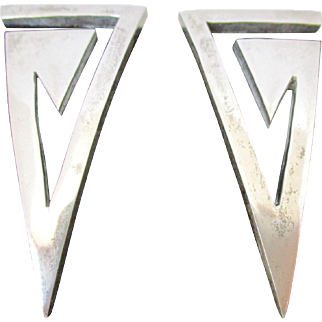 Abstract V's Sterling Silver Mexico Earrings Vintage