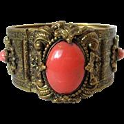 Kandell & Marcus N.Y. Wide Ornate Brass Toned Bracelet Vintage