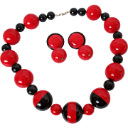 Black Red Plastic Ball Necklace Earrings Set Vintage