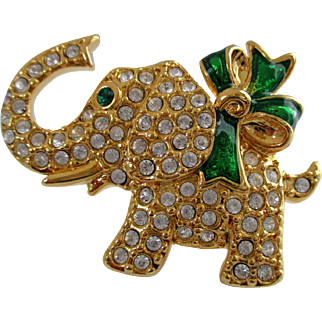 Monet Small Christmas Elephant Brooch Vintage