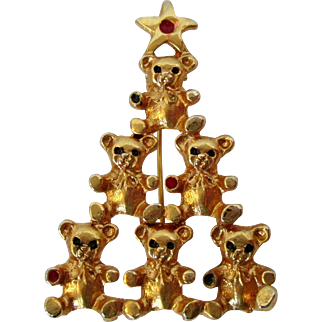 Teddy Bears Stacked Christmas Tree Brooch Vintage