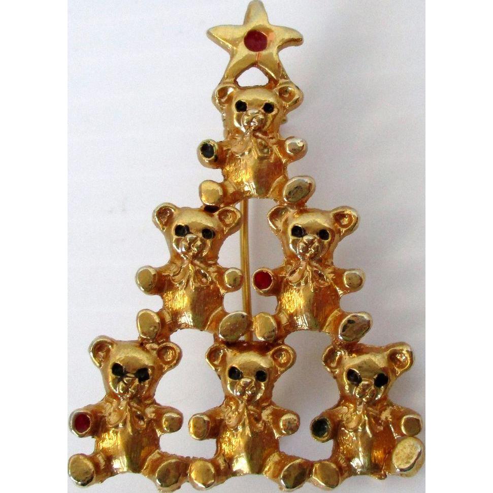 Teddy Bears Stacked Christmas Tree Brooch Vintage