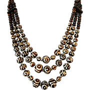 Brown and Cream Batik Bone Beaded Ethnic 3 Strand Necklace Vintage