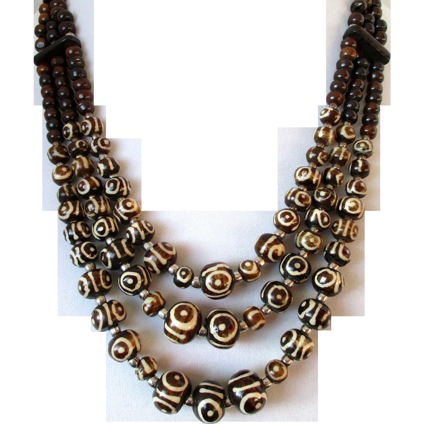 Brown and Cream Batik Bone Beaded Ethnic 3 Strand Necklace Vintage