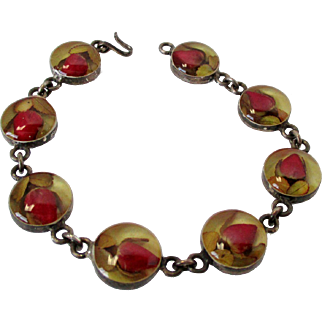 Encased Red Rosebuds Sterling Silver Mexico Small Bracelet Vintage