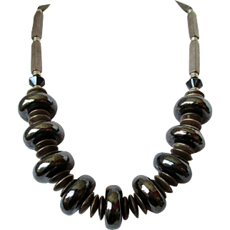 Large Hematite Beads Necklace Vintage