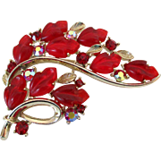 Lisner Red Fruit Salad Brooch Vintage