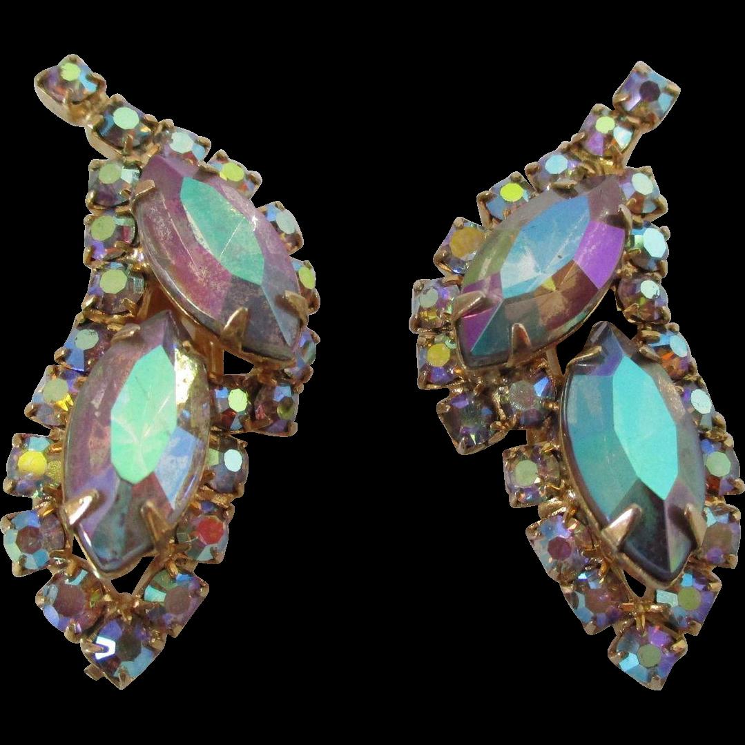 Aurora Borealis Rhinestone Clip On Earrings Vintage