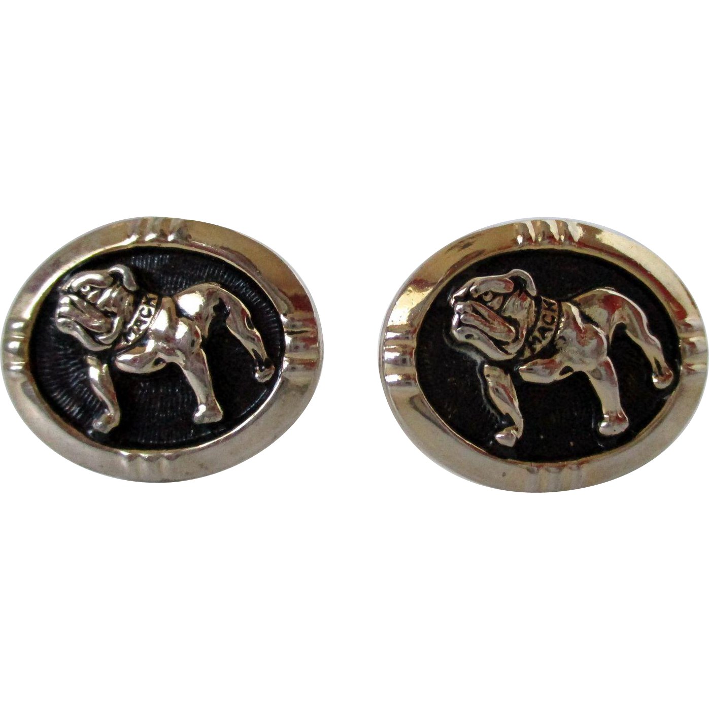 Mack Bulldog Gold Tone Cuff Links Vintage