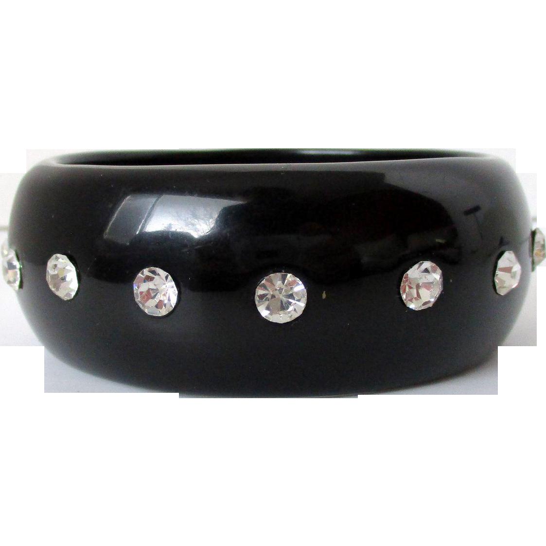 Black Plastic Clear Rhinestones Chunky Bangle Vintage